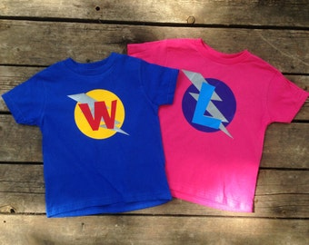 Personalized Kid's Birthday Superhero T-Shirt, Custom Super Hero Birthday Shirt with Lightening Bolt and Initial , Kids T-shirt