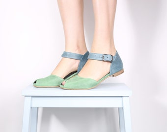 Peep toe leather sandals , handmade leather sandals , blue and green sandals ADIKILAV ,handmade
