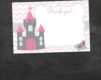 Princess Printable Thank you Card - Chevron (digital file)