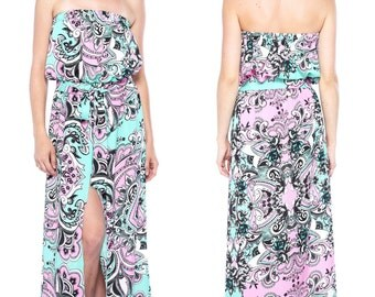 Glamour Bohemian / Paisley Print Strapless / Tube Top High Slit Evening Dress with Sash Belt