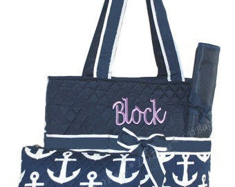 Personalized Diaper Bags | Daddy Diaper Bag | Infants | Babies | Childs | Boys | Girls Diaper Bags | Nautical Diaper Bag Navy Large Anchor