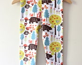 Organic Baby Leggings featuring bears and woodland creatures - soft, eco-friendly, gender-neutral knit pants for baby boys and girls!