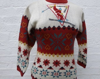 Sweater fair isle jumper acrylic wool jumper small sweater teens small top wool vintage top teens jumper vintage sweater winter small jumper