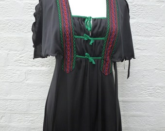 Festival dress black 1960s clothes hippie 60s dress petite hippie dress preppy clothes size 10 dress maxi black long dress womens 60s gift