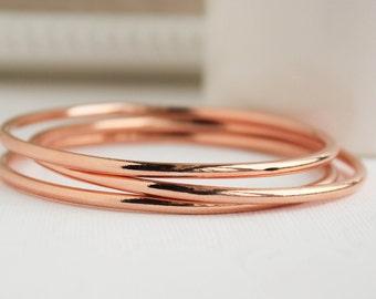 Rose Gold Bangles, Rose Gold Bracelet, , Everyday Jewelry, Layering Bracelets, Minimalist Jewelry, PD