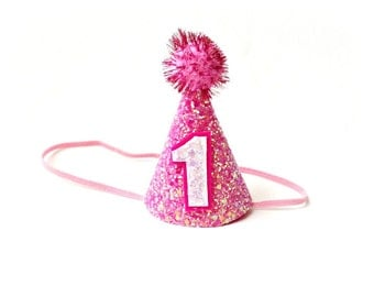 Ready to Ship First Birthday Pink Party Hat Cone Hat Glitter Fabric