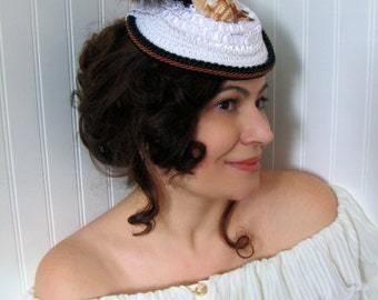 Steampunk Fascinator Hat, Bridal,  White Feathers and Shell, 1940's Hat - Aphrodite