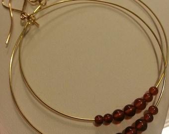 Gold-plated Hoop Earrings w/Amber