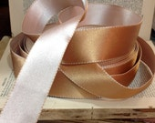 champagne and gold stitched satin ribbon