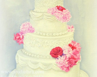 Custom Wedding Cake Painting in OIL by LARA 11x14 Bridal Illustration