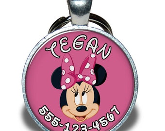 Pet ID Tag - Minnie Mouse *Inspired* - Dog tag, Cat Tag, Pet Tag