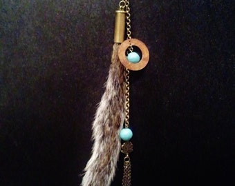 Unusual Squirrel Tail & Turquoise Necklace
