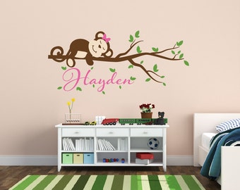 Girl Monkey Decal - Girls Nursery Wall Decal - Monkey Name Wall Decal - Monkey Nursery Wall Decal - Jungle Theme Nursery Decor