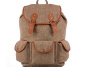 Woolen Herringbone Backpack with Laptop Protection