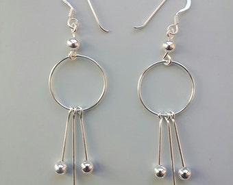 Delicate Silver-Earrings, Filigree, Sterling Silver