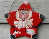 RED STAR SANTA Ornament