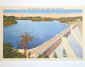 Vintage Postcard, Boat Regatta on Lake, Norris Dam, Tennessee- 1940s Linen Paper Ephemera