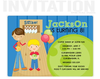 Bowling Party Invitation, Bowling Party, Bowling Invitation, Bowling Birthday Invitation, Bowling Invite, Bowling Birthday Party | 211