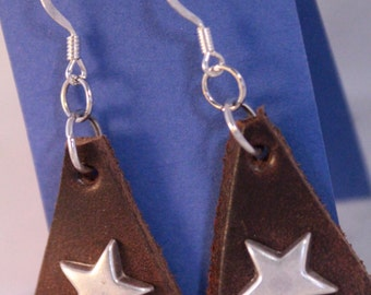 Triangular Leather Old Silver Star Earrings