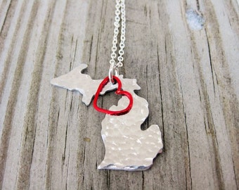 Michigan Valentine Necklace~Michigan State Shaped Necklace with Red Wire Heart
