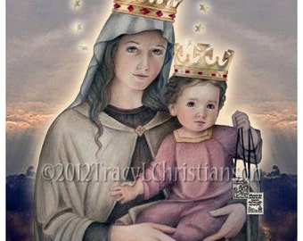 Our Lady of Mount Carmel Catholic Art Print, Blessed Virgin Mary #4039