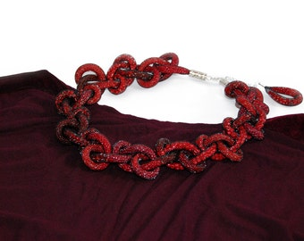 Seed bead red/burgundy necklace. Red necklace. Burgundy jewelry. Fall  finds. Seed bead jewelry. Mesh jewelry. Mesh necklace.  Red jewelry.
