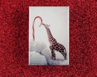 Giraffe Licking a Candy Cane Magnet: Gifts under 5