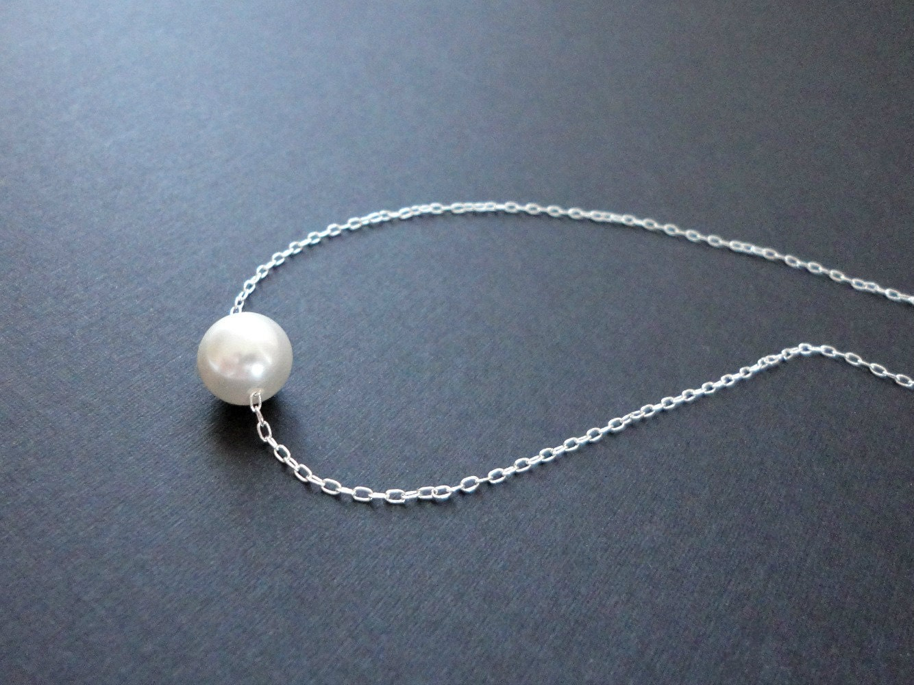 Silver Single Pearl Necklace Floating Pearl Necklace Bridal