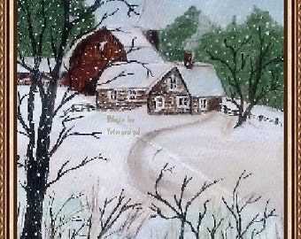 "Winter Scene Print,  called ""Country Life"""