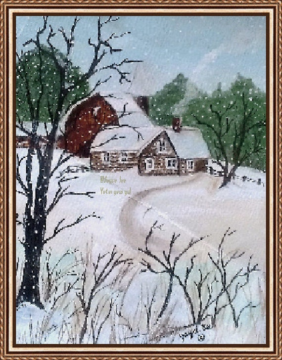 """Winter Scene Print,  called """"Country Life"""""""