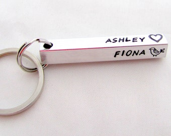 Custom Hand Stamped Bar Key Chain Personalized the Way You Would Like