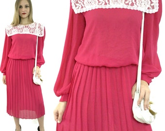 Vintage 80s Jane Baar New York Hippie Bohemian Puritan Lace Collar Long Prairie Dress
