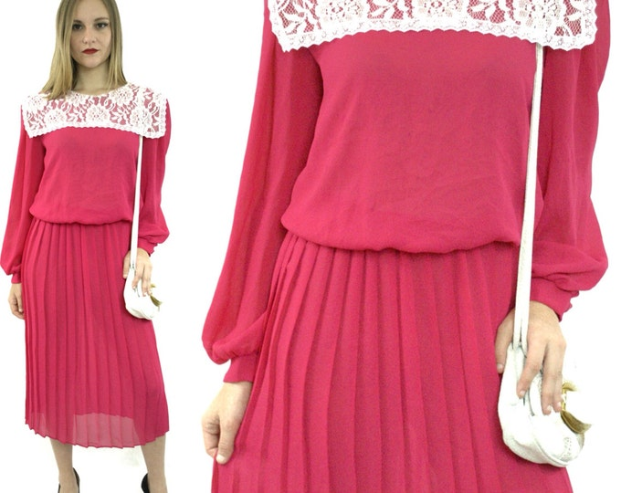 Vintage 80s Jane Baar New York Hippie Bohemian Puritan Lace Collar Long Prairie Dress