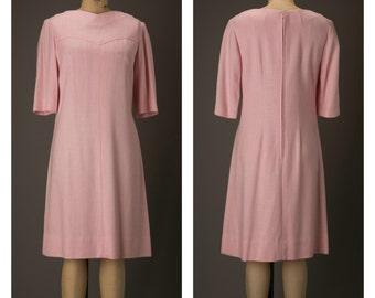 1960s Pink Linen Dress