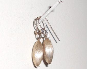 Simple dangle earrings, tiny vintage silver pierced earrings minimalist