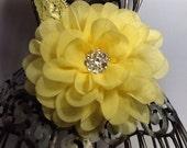 Yellow headband, bright yellow hair flower, yellow hair accessory, girls headband, baby headband, yellow flower headband