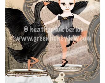 Black Swan - Limited Edition Fine Art Digital Print - Fantasy, Whimsical, Grey, Beige, Orange, Girl, Gold, 8x10