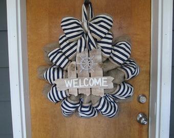 Welcome wreath,beach wreath, nautical wreath,stripe wreath,everyday door decor,wooden plank sign