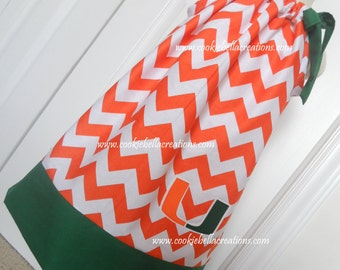 Miami Hurricanes Green and Orange Chevron Pillowcase Dress - University of Miami
