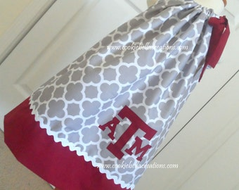 Texas A&M Aggies Gray and Red Pillowcase Dress