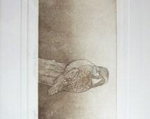 Vintage Owl Print - Sepia Color Etching - Framed Art Print Ernest Somers Artists Proof - Neutral Home Decor Woodland Bird Aquatint Art Print