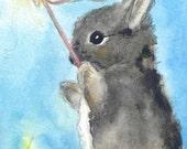 Nursery Art - 13x19 - LARGE Fine Art Print - Little Bunny Fern - Watercolor Bunny painting - Princess Painting