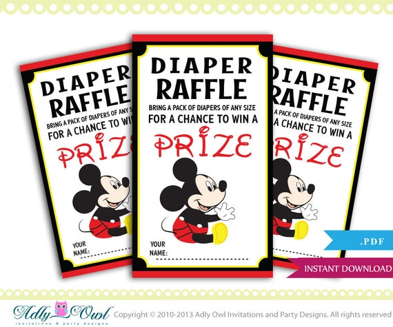 Mickey Mouse Diaper Raffle Tickets for Boy Baby Shower in Red, Black ...