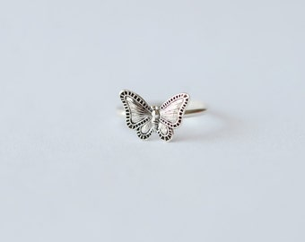 925 Sterling Silver Butterfly Adjustable Lovely Tail Ring 696
