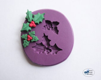 Mistletoe Duo Mold - Christmas Holiday Mold - Silicone Mold - Polymer Clay Resin Fondant