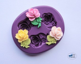Rose Stem Trio Mold/Mould - Silicone Molds - Polymer Clay Resin Fondant