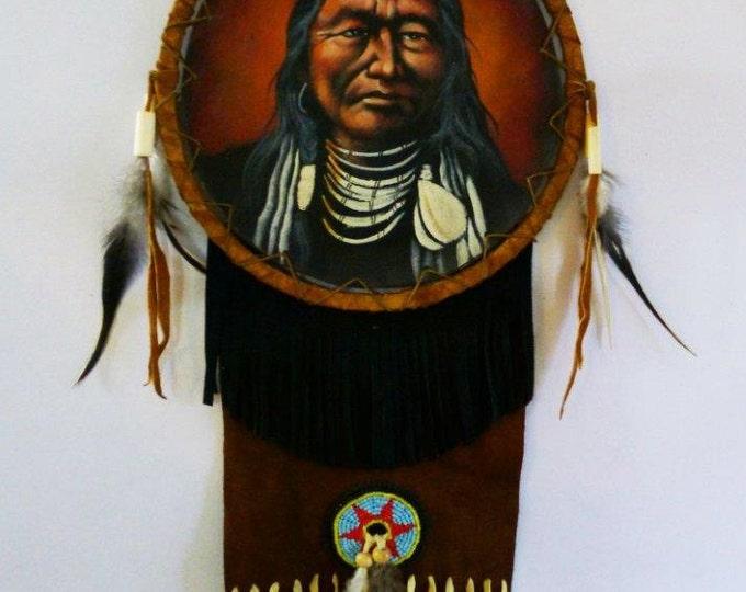 D4-Painted  Brown Dream Catcher ---Diameter: 22cm, 9 inch----
