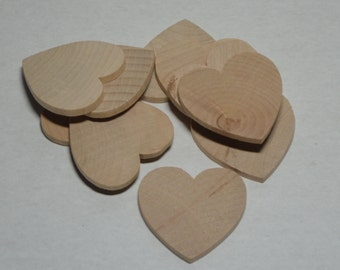 "1-1/2"" Wood Heart -  Set of 10 - Unfinished Wood Hearts - 1/8"" Thick - Wooden Hearts"