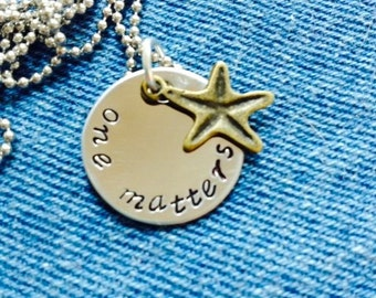 Starfish story one matters stainless steel hand stamped necklace