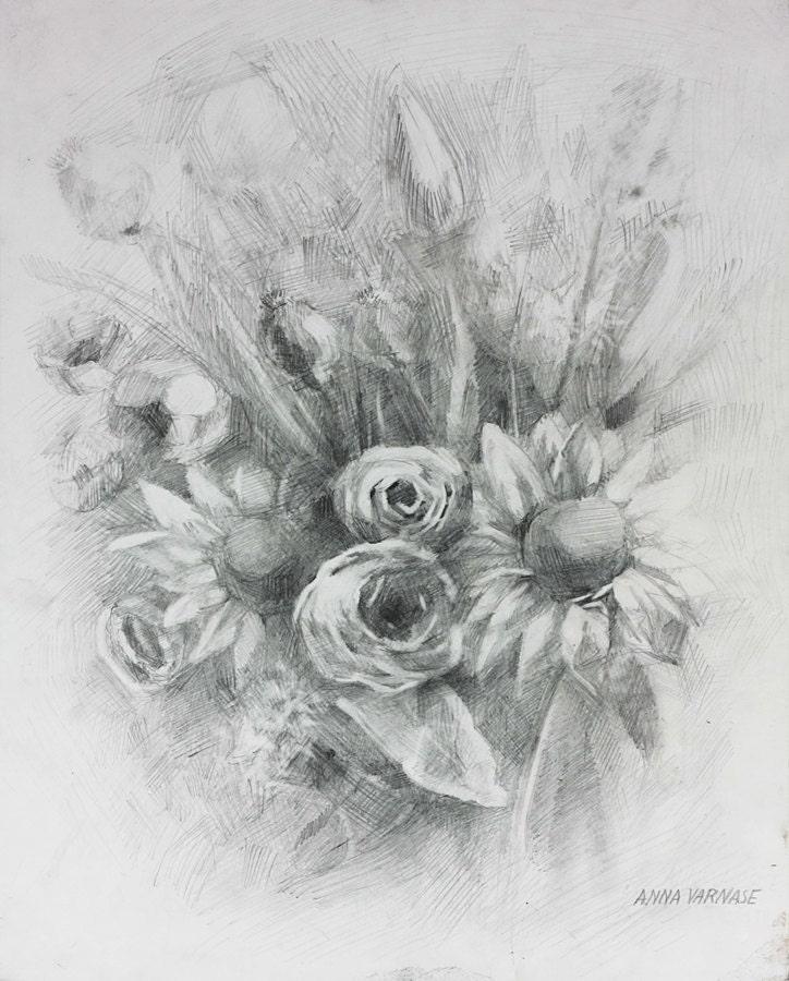 fiori fatti a mano disegno bouquet su carta matita arte